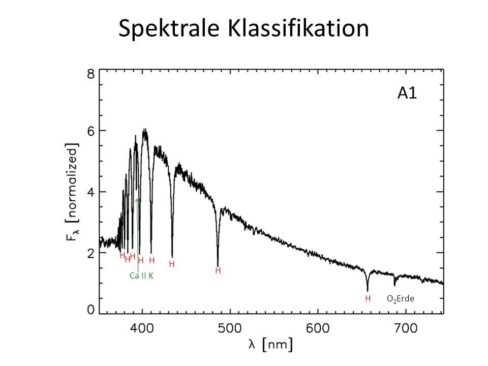 Spektrale Klassifikation A1 H HH H H H H H Ca II K O 2 Erde