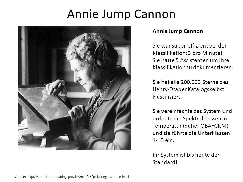 Annie Jump Cannon Quelle: http://simostronomy.blogspot.de/2010/06/pickerings-women.html Annie Jump Cannon Sie war super-effizient bei der Klassifikati