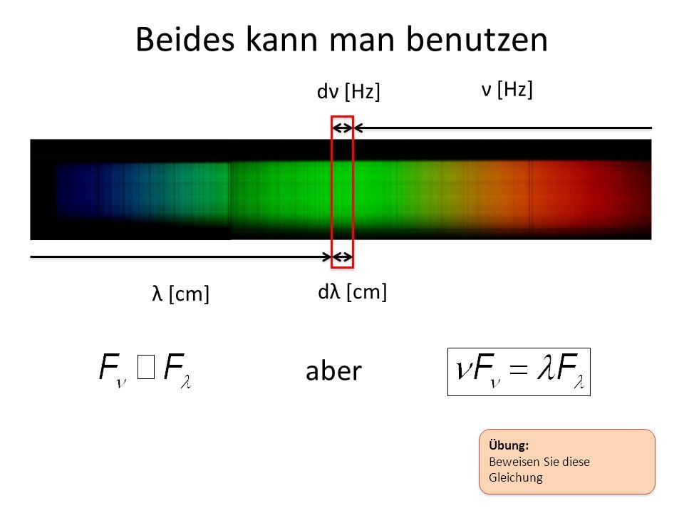 Beides kann man benutzen dν [Hz] ν [Hz] dλ [cm] λ [cm] aber Übung: Beweisen Sie diese Gleichung Übung: Beweisen Sie diese Gleichung