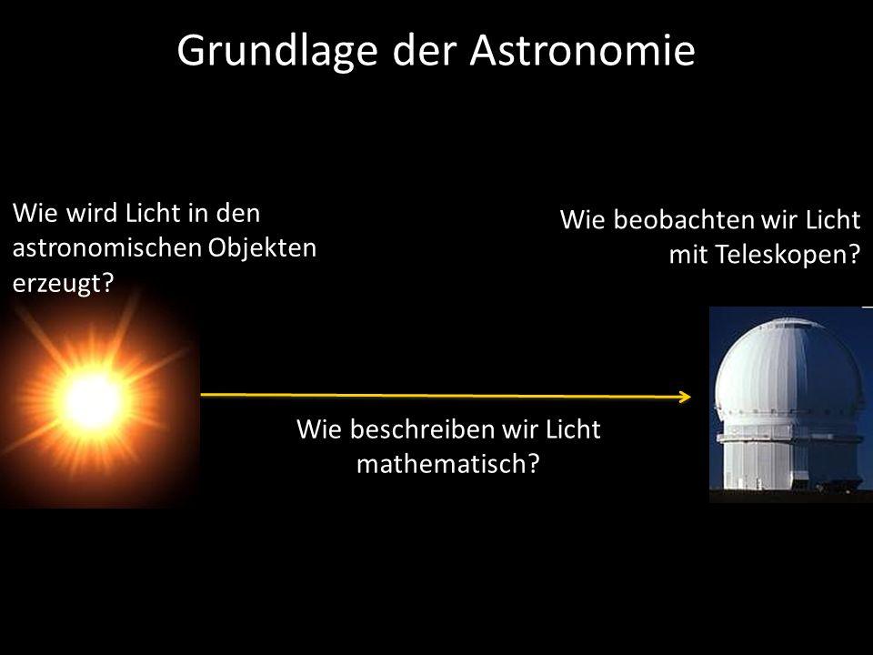 Wie wird Licht in den astronomischen Objekten erzeugt? Wie beschreiben wir Licht mathematisch? Wie beobachten wir Licht mit Teleskopen? Grundlage der