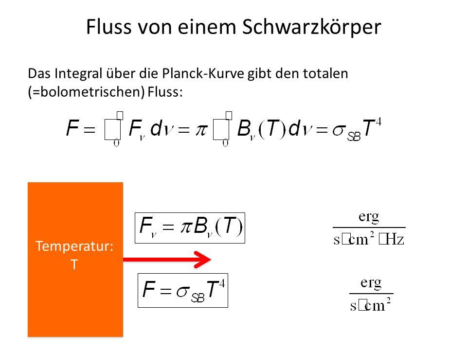 Fluss von einem Schwarzkörper Das Integral über die Planck-Kurve gibt den totalen (=bolometrischen) Fluss: Temperatur: T