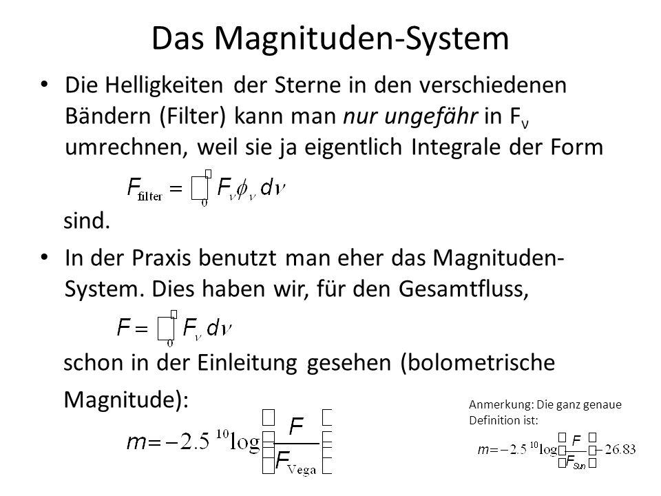 Das Magnituden-System Die Helligkeiten der Sterne in den verschiedenen Bändern (Filter) kann man nur ungefähr in F ν umrechnen, weil sie ja eigentlich