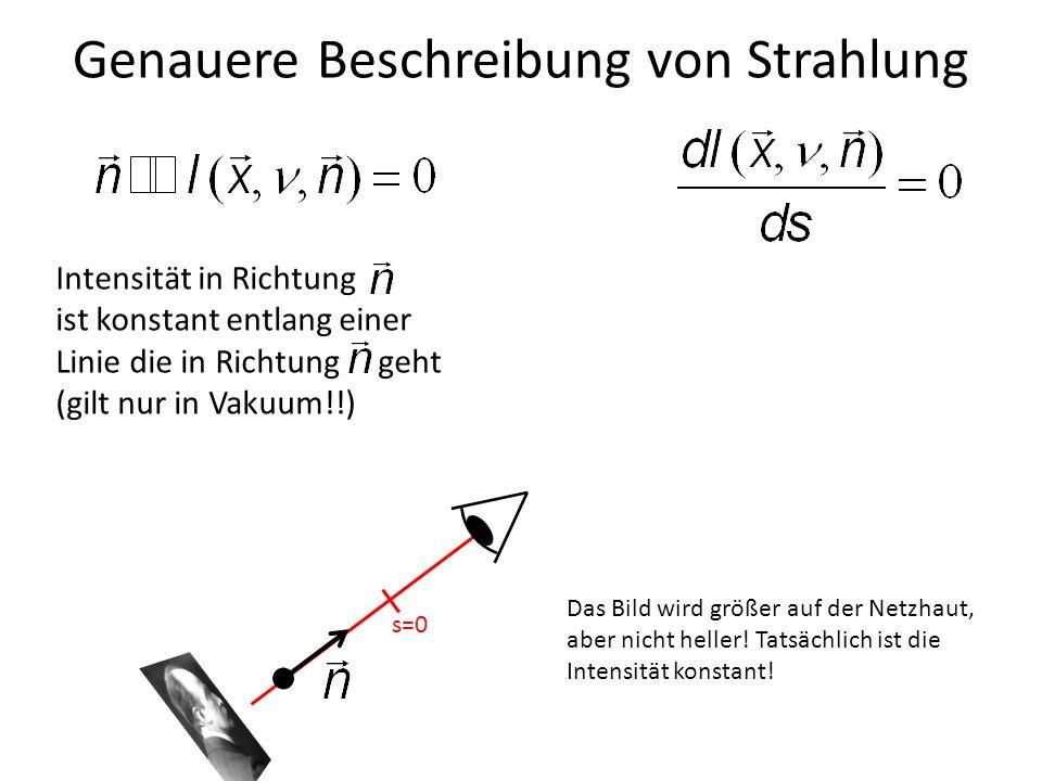 Genauere Beschreibung von Strahlung s=0 s=10 Das Bild wird größer auf der Netzhaut, aber nicht heller! Tatsächlich ist die Intensität konstant! Intens