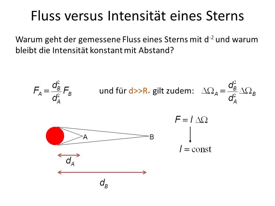 Fluss versus Intensität eines Sterns AB Warum geht der gemessene Fluss eines Sterns mit d -2 und warum bleibt die Intensität konstant mit Abstand? und