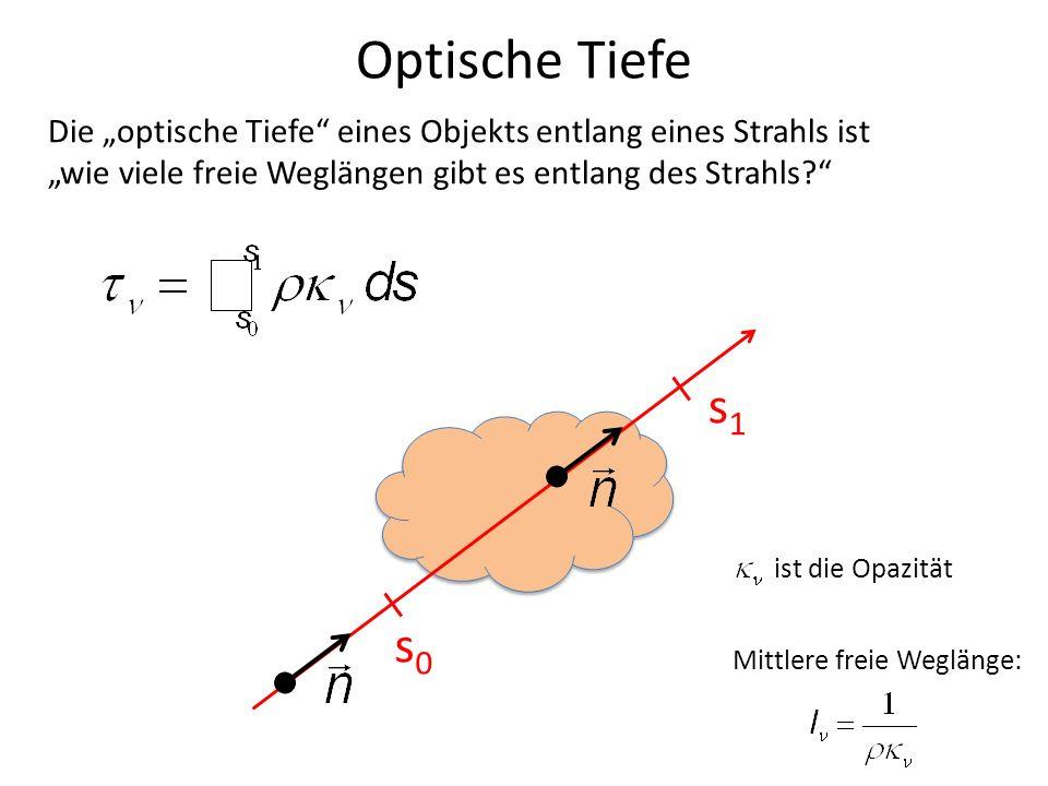 Optische Tiefe s0s0 s1s1 Die optische Tiefe eines Objekts entlang eines Strahls ist wie viele freie Weglängen gibt es entlang des Strahls? Mittlere fr