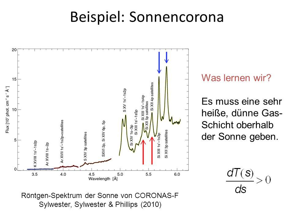 Beispiel: Sonnencorona Röntgen-Spektrum der Sonne von CORONAS-F Sylwester, Sylwester & Phillips (2010) Was lernen wir? Es muss eine sehr heiße, dünne