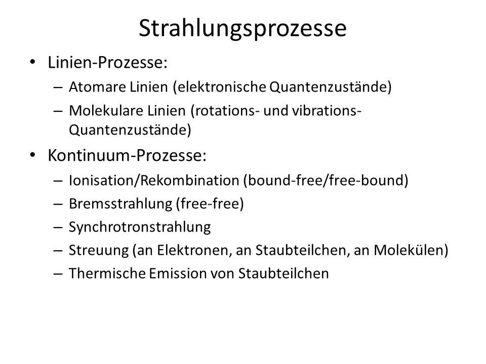 Linien-Prozesse: – Atomare Linien (elektronische Quantenzustände) – Molekulare Linien (rotations- und vibrations- Quantenzustände) Kontinuum-Prozesse: