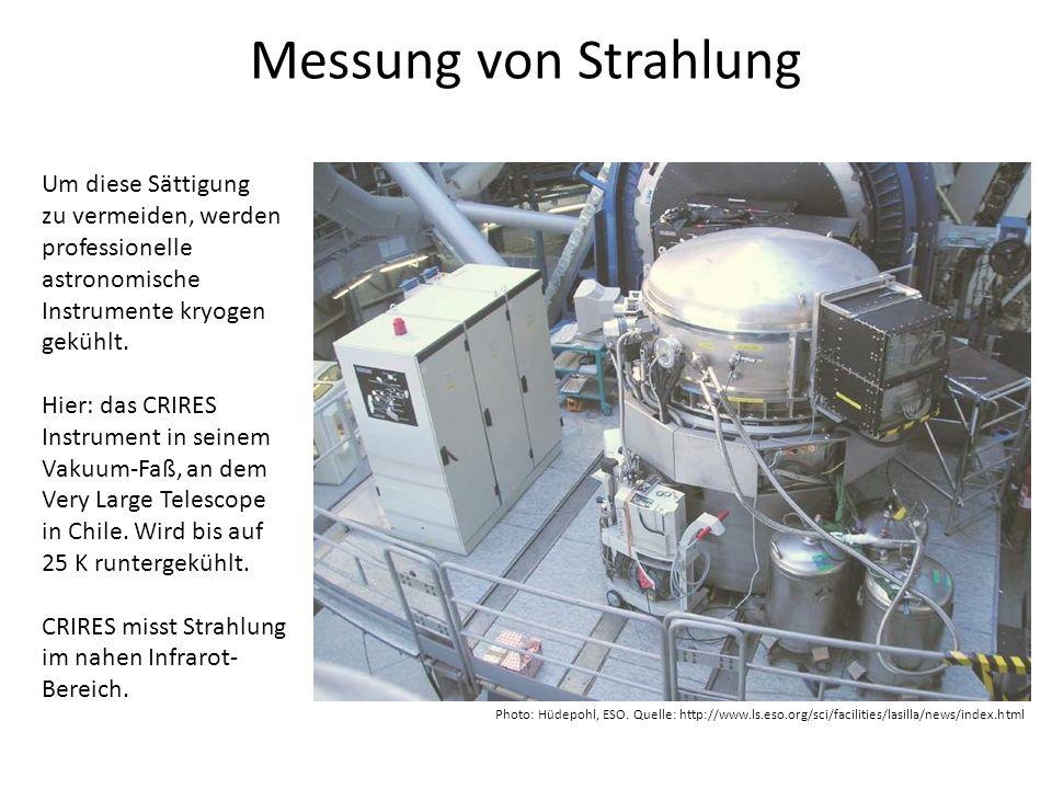 Messung von Strahlung Um diese Sättigung zu vermeiden, werden professionelle astronomische Instrumente kryogen gekühlt. Hier: das CRIRES Instrument in