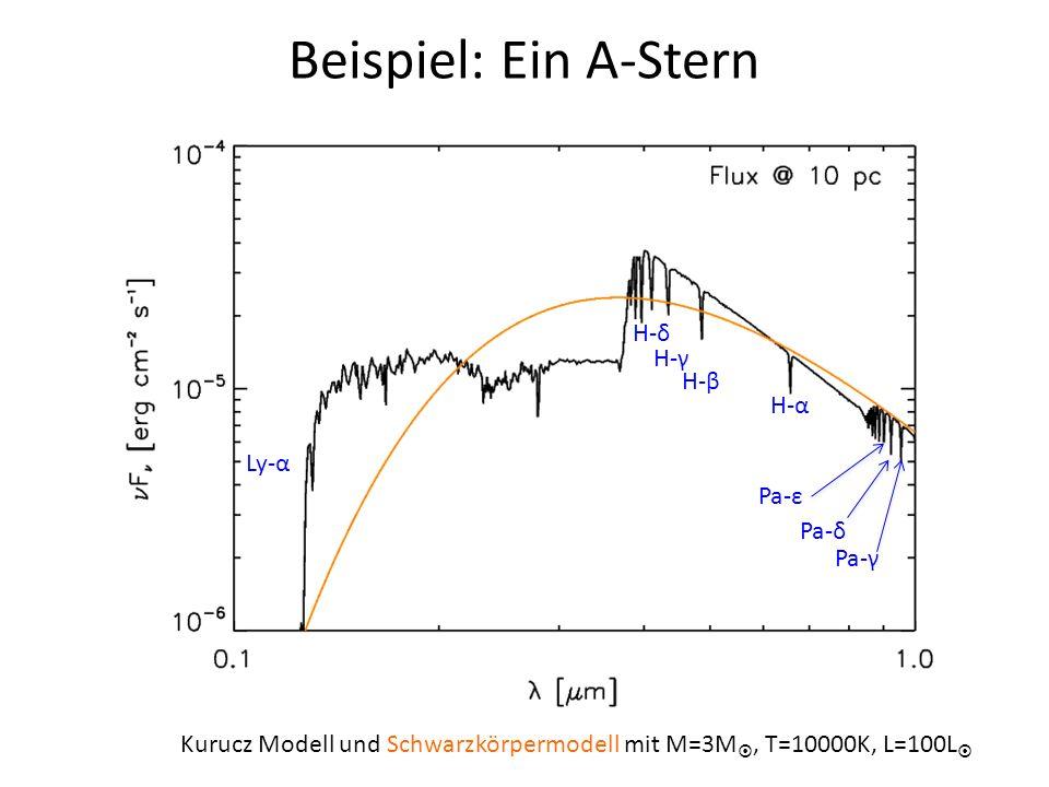 Beispiel: Ein A-Stern Kurucz Modell und Schwarzkörpermodell mit M=3M, T=10000K, L=100L H-α H-β H-γ H-δ Pa-γ Pa-δ Pa-ε Ly-α