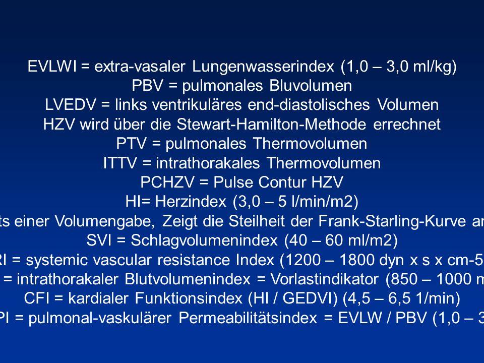 EVLWI = extra-vasaler Lungenwasserindex (1,0 – 3,0 ml/kg) PBV = pulmonales Bluvolumen LVEDV = links ventrikuläres end-diastolisches Volumen HZV wird ü