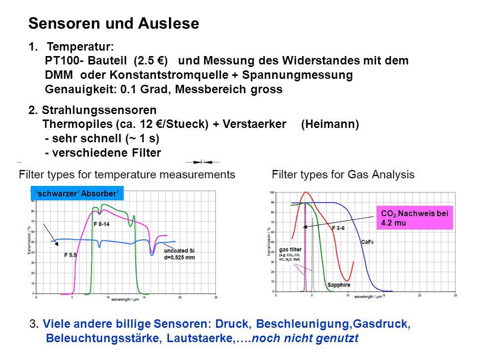 Sensoren und Auslese 1.Temperatur: PT100- Bauteil (2.5 ) und Messung des Widerstandes mit dem DMM oder Konstantstromquelle + Spannungmessung Genauigke