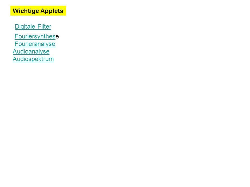 Wichtige Applets Digitale Filter FouriersyntheseFouriersynthes Fourieranalyse Audioanalyse Audiospektrum