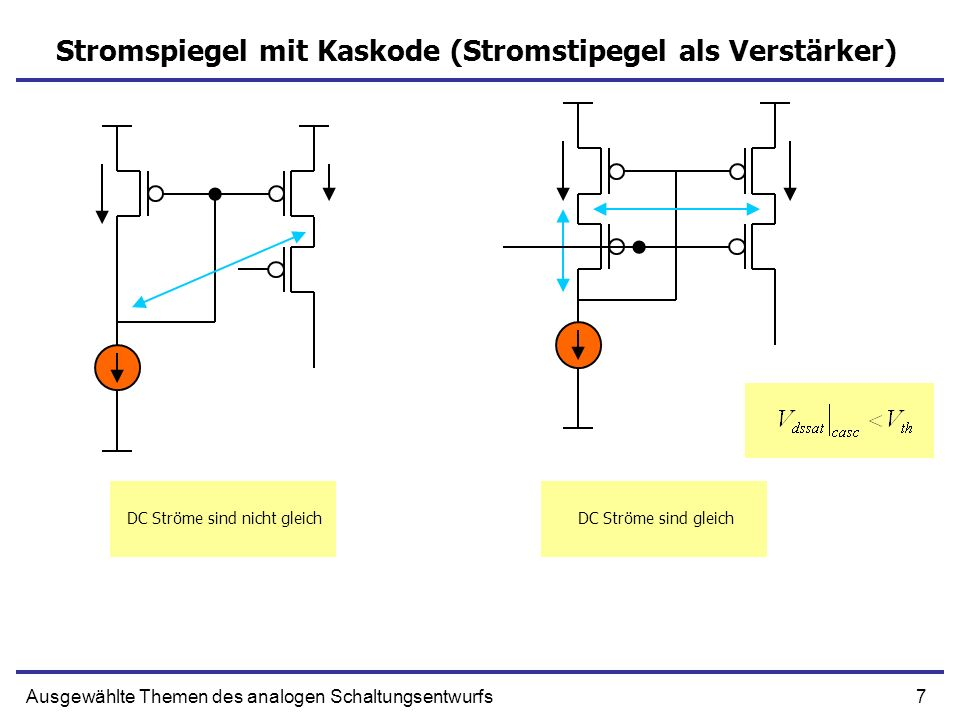 7Ausgewählte Themen des analogen Schaltungsentwurfs Stromspiegel mit Kaskode (Stromstipegel als Verstärker) DC Ströme sind nicht gleichDC Ströme sind