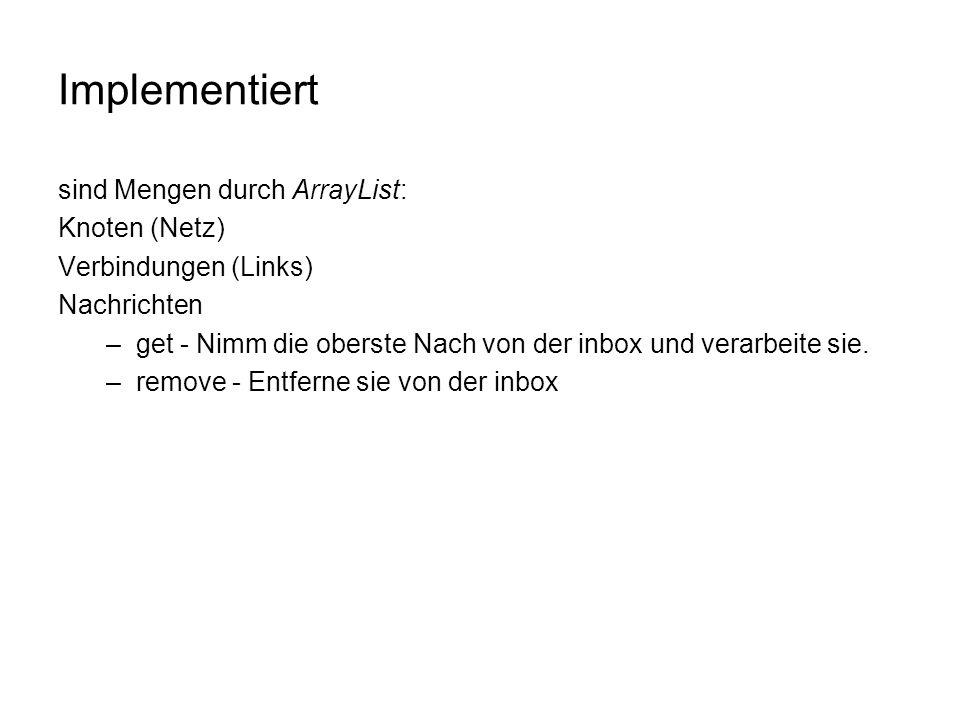 Implementiert sind Mengen durch ArrayList: Knoten (Netz) Verbindungen (Links) Nachrichten –get - Nimm die oberste Nach von der inbox und verarbeite sie.