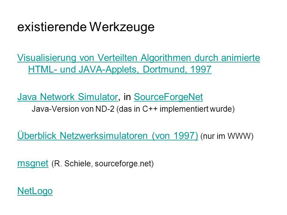 existierende Werkzeuge Visualisierung von Verteilten Algorithmen durch animierte HTML- und JAVA-Applets, Dortmund, 1997 Java Network SimulatorJava Network Simulator, in SourceForgeNetSourceForgeNet Java-Version von ND-2 (das in C++ implementiert wurde) Überblick Netzwerksimulatoren (von 1997)Überblick Netzwerksimulatoren (von 1997) (nur im WWW) msgnetmsgnet (R.