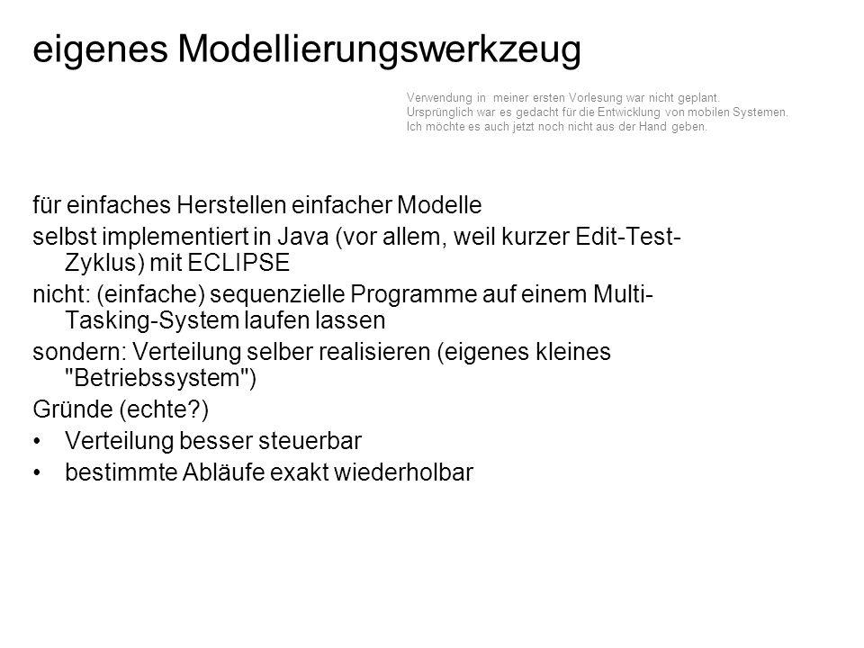 eigenes Modellierungswerkzeug für einfaches Herstellen einfacher Modelle selbst implementiert in Java (vor allem, weil kurzer Edit-Test- Zyklus) mit ECLIPSE nicht: (einfache) sequenzielle Programme auf einem Multi- Tasking-System laufen lassen sondern: Verteilung selber realisieren (eigenes kleines Betriebssystem ) Gründe (echte?) Verteilung besser steuerbar bestimmte Abläufe exakt wiederholbar Verwendung in meiner ersten Vorlesung war nicht geplant.