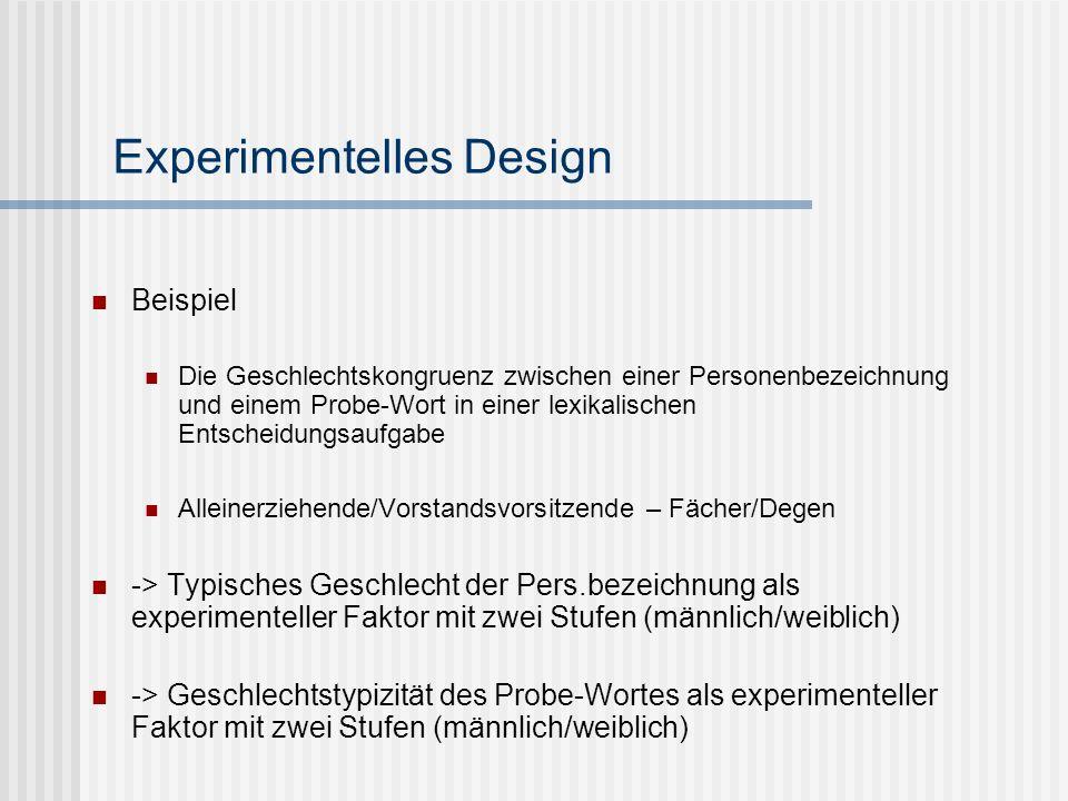 Experimentelles Design Abhängige Variablen (AVs) -> das, was gemessen wird Beispiel: Entscheidungszeit, wenn das Probe-Wort geschlechtkongruent/-inkongruent zur Personenbezeichnung ist Anderes Beispiel?