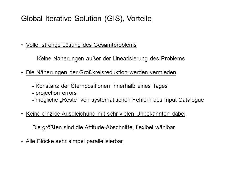 Global Iterative Solution (GIS), Vorteile Volle, strenge Lösung des Gesamtproblems Keine Näherungen außer der Linearisierung des Problems Die Näherung