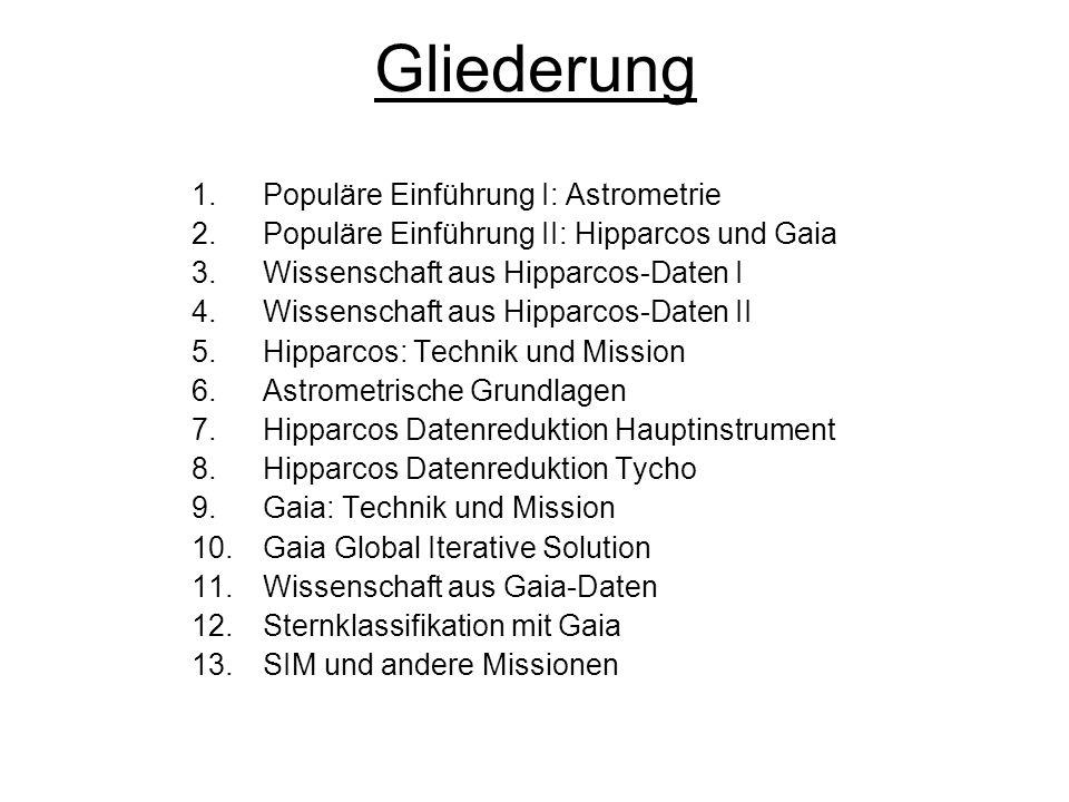 Gliederung 1.Populäre Einführung I: Astrometrie 2.Populäre Einführung II: Hipparcos und Gaia 3.Wissenschaft aus Hipparcos-Daten I 4.Wissenschaft aus H
