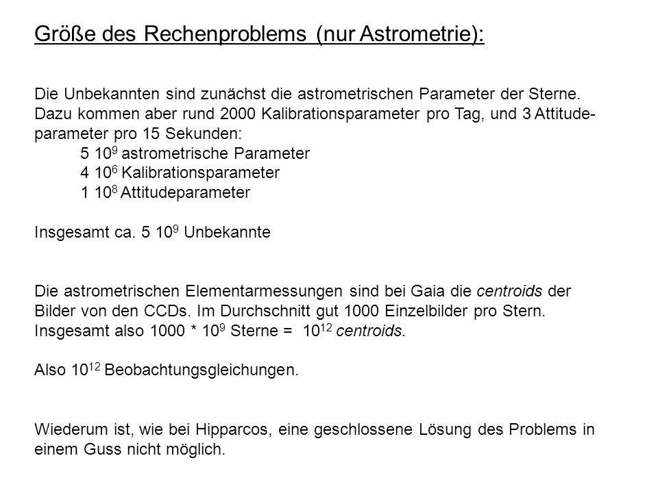 Größe des Rechenproblems (nur Astrometrie): Die Unbekannten sind zunächst die astrometrischen Parameter der Sterne. Dazu kommen aber rund 2000 Kalibra