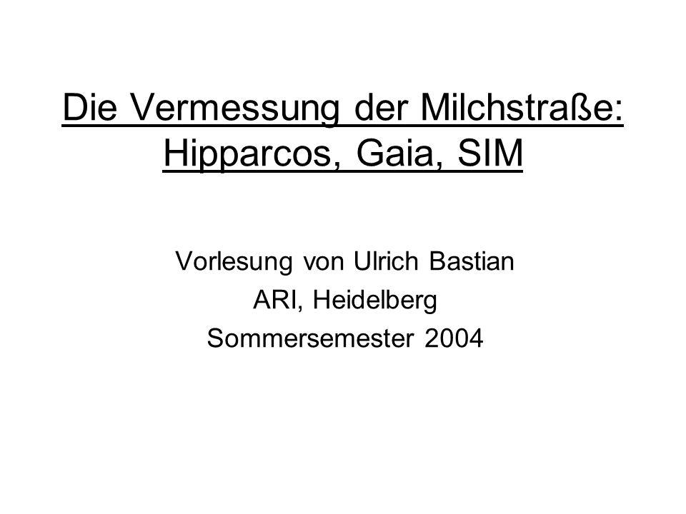 Gliederung 1.Populäre Einführung I: Astrometrie 2.Populäre Einführung II: Hipparcos und Gaia 3.Wissenschaft aus Hipparcos-Daten I 4.Wissenschaft aus Hipparcos-Daten II 5.Hipparcos: Technik und Mission 6.Astrometrische Grundlagen 7.Hipparcos Datenreduktion Hauptinstrument 8.Hipparcos Datenreduktion Tycho 9.Gaia: Technik und Mission 10.Gaia Global Iterative Solution 11.Wissenschaft aus Gaia-Daten 12.Sternklassifikation mit Gaia 13.SIM und andere Missionen