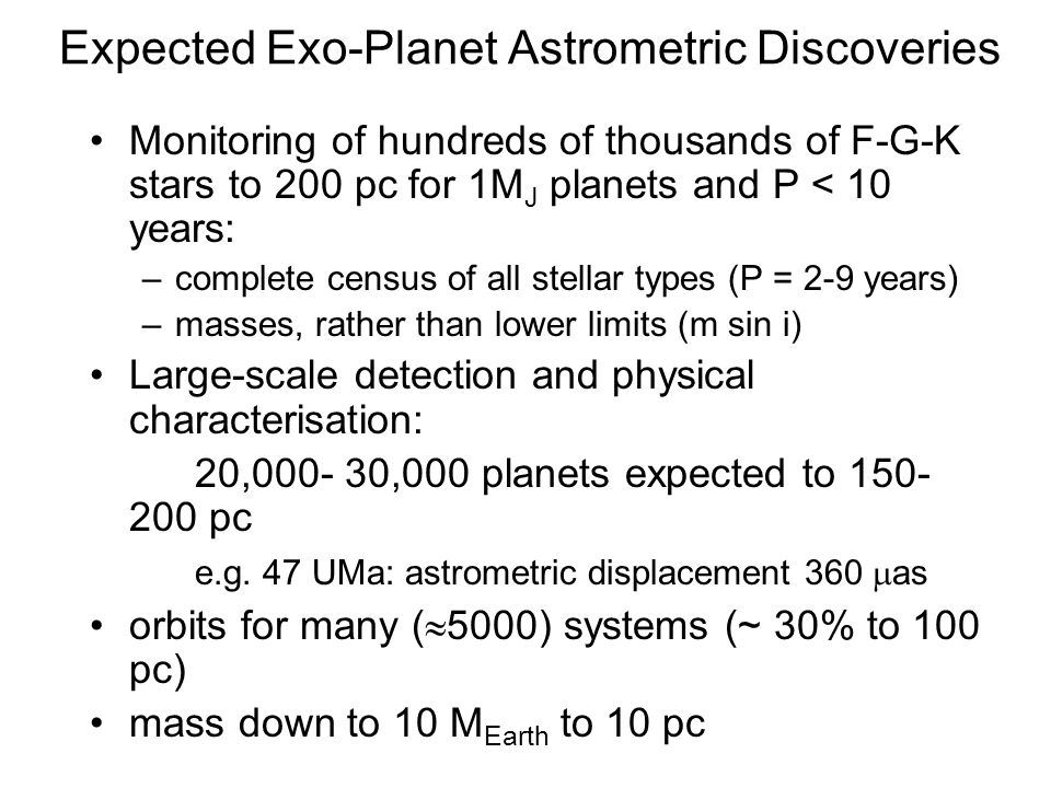 Expected Exo-Planet Astrometric Discoveries Monitoring of hundreds of thousands of F-G-K stars to 200 pc for 1M J planets and P < 10 years: –complete census of all stellar types (P = 2-9 years) –masses, rather than lower limits (m sin i) Large-scale detection and physical characterisation: 20,000- 30,000 planets expected to 150- 200 pc e.g.
