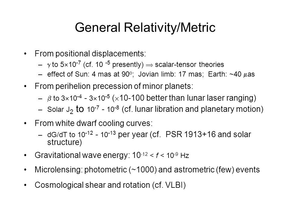 General Relativity/Metric From positional displacements: – to 5 10 -7 (cf.