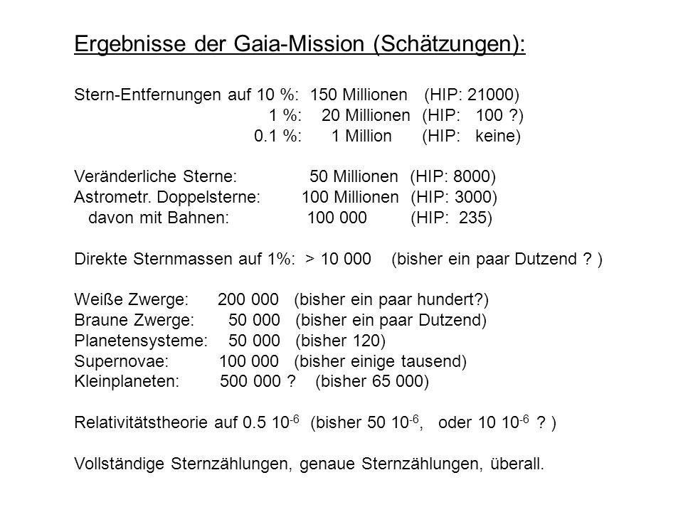 Ergebnisse der Gaia-Mission (Schätzungen): Stern-Entfernungen auf 10 %: 150 Millionen (HIP: 21000) 1 %: 20 Millionen (HIP: 100 ?) 0.1 %: 1 Million (HIP: keine) Veränderliche Sterne: 50 Millionen (HIP: 8000) Astrometr.