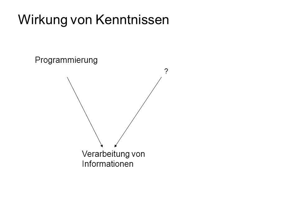Wirkung von Kenntnissen Verarbeitung von Informationen Programmierung