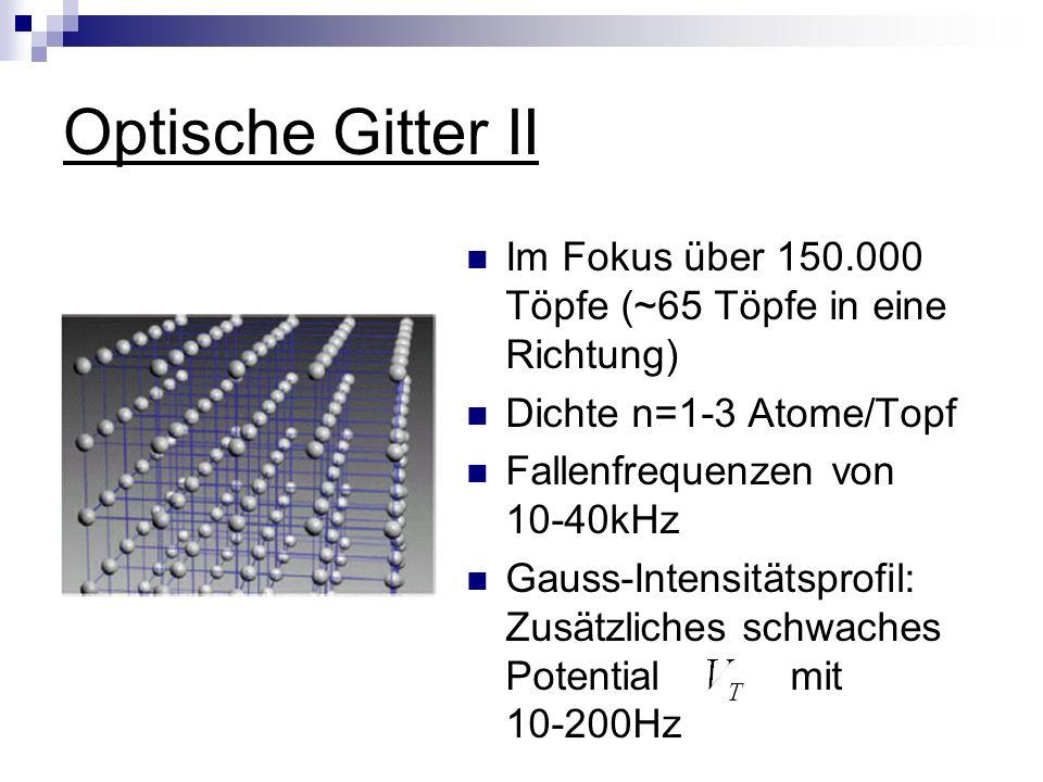 Optische Gitter II Im Fokus über 150.000 Töpfe (~65 Töpfe in eine Richtung) Dichte n=1-3 Atome/Topf Fallenfrequenzen von 10-40kHz Gauss-Intensitätsprofil: Zusätzliches schwaches Potential mit 10-200Hz