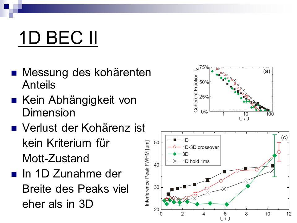 1D BEC II Messung des kohärenten Anteils Kein Abhängigkeit von Dimension Verlust der Kohärenz ist kein Kriterium für Mott-Zustand In 1D Zunahme der Breite des Peaks viel eher als in 3D