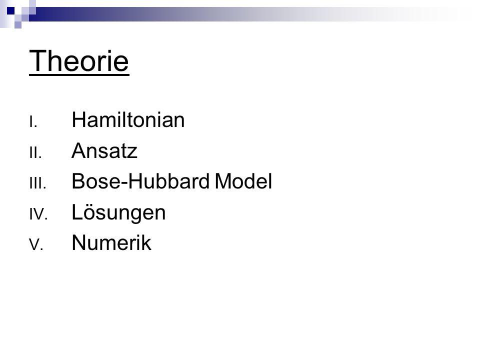 Theorie I. Hamiltonian II. Ansatz III. Bose-Hubbard Model IV. Lösungen V. Numerik