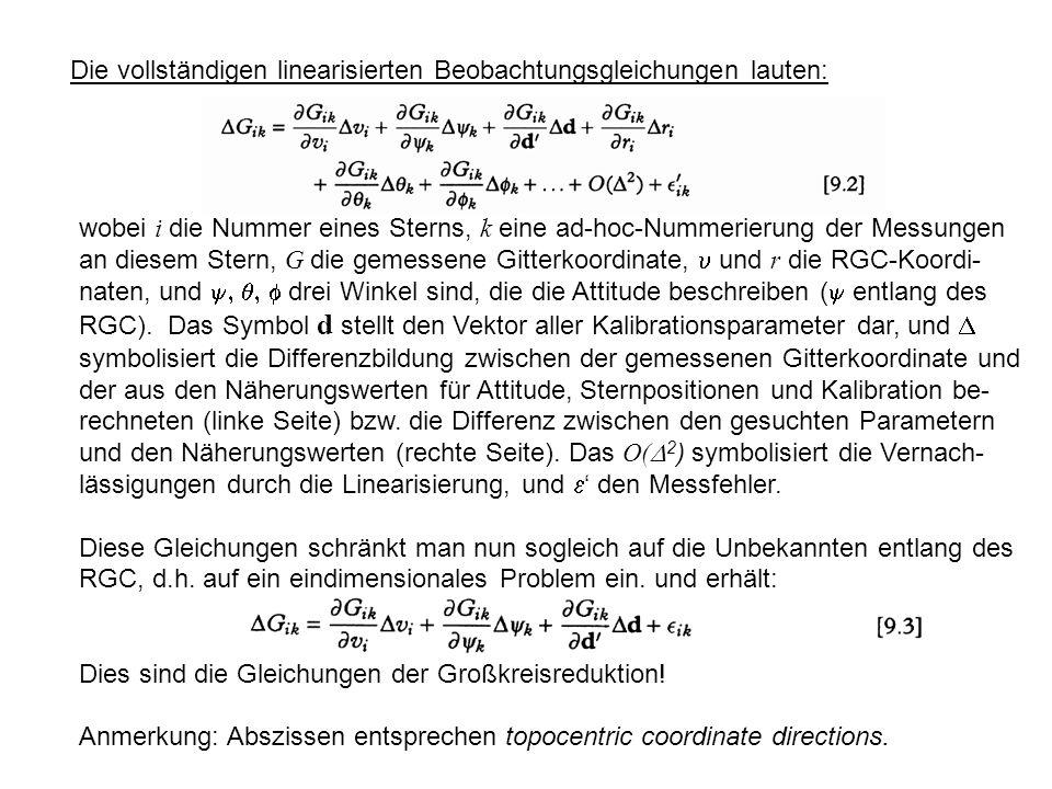 Die vollständigen linearisierten Beobachtungsgleichungen lauten: wobei i die Nummer eines Sterns, k eine ad-hoc-Nummerierung der Messungen an diesem Stern, G die gemessene Gitterkoordinate, und r die RGC-Koordi- naten, und drei Winkel sind, die die Attitude beschreiben ( entlang des RGC).