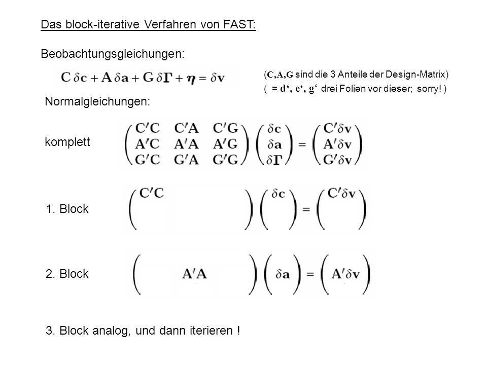 Das block-iterative Verfahren von FAST: Beobachtungsgleichungen: Normalgleichungen: komplett 1.