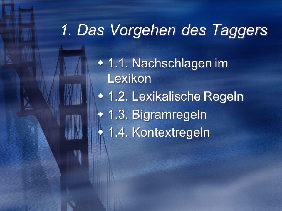 1. Das Vorgehen des Taggers 1.1. Nachschlagen im Lexikon 1.2.