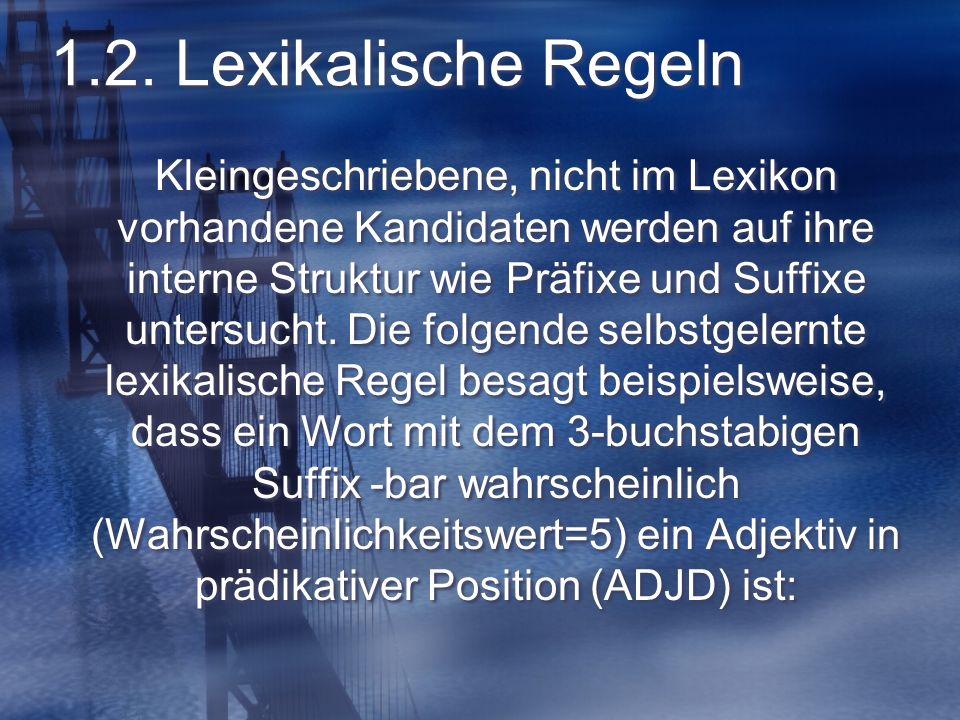 1.2. Lexikalische Regeln Kleingeschriebene, nicht im Lexikon vorhandene Kandidaten werden auf ihre interne Struktur wie Präfixe und Suffixe untersucht