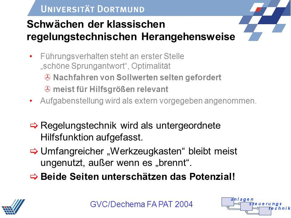 GVC/Dechema FA PAT 2004 Schwächen der klassischen regelungstechnischen Herangehensweise Führungsverhalten steht an erster Stelle schöne Sprungantwort,