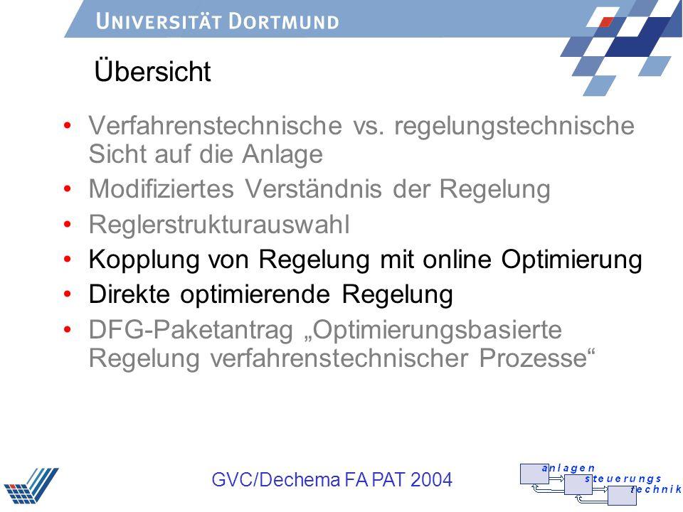 GVC/Dechema FA PAT 2004 Übersicht Verfahrenstechnische vs. regelungstechnische Sicht auf die Anlage Modifiziertes Verständnis der Regelung Reglerstruk