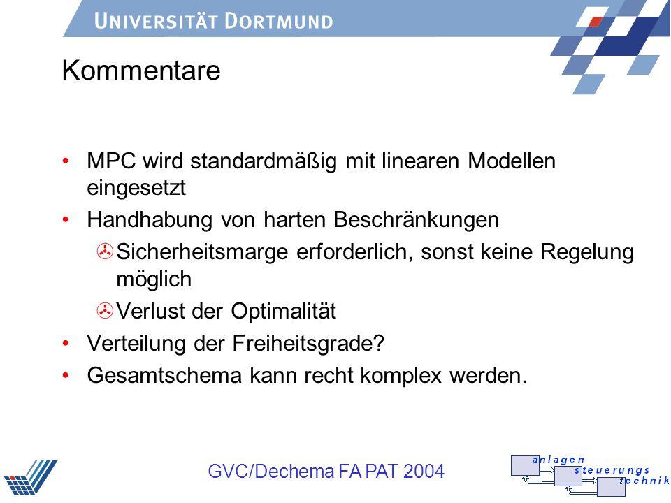GVC/Dechema FA PAT 2004 Kommentare MPC wird standardmäßig mit linearen Modellen eingesetzt Handhabung von harten Beschränkungen >Sicherheitsmarge erfo