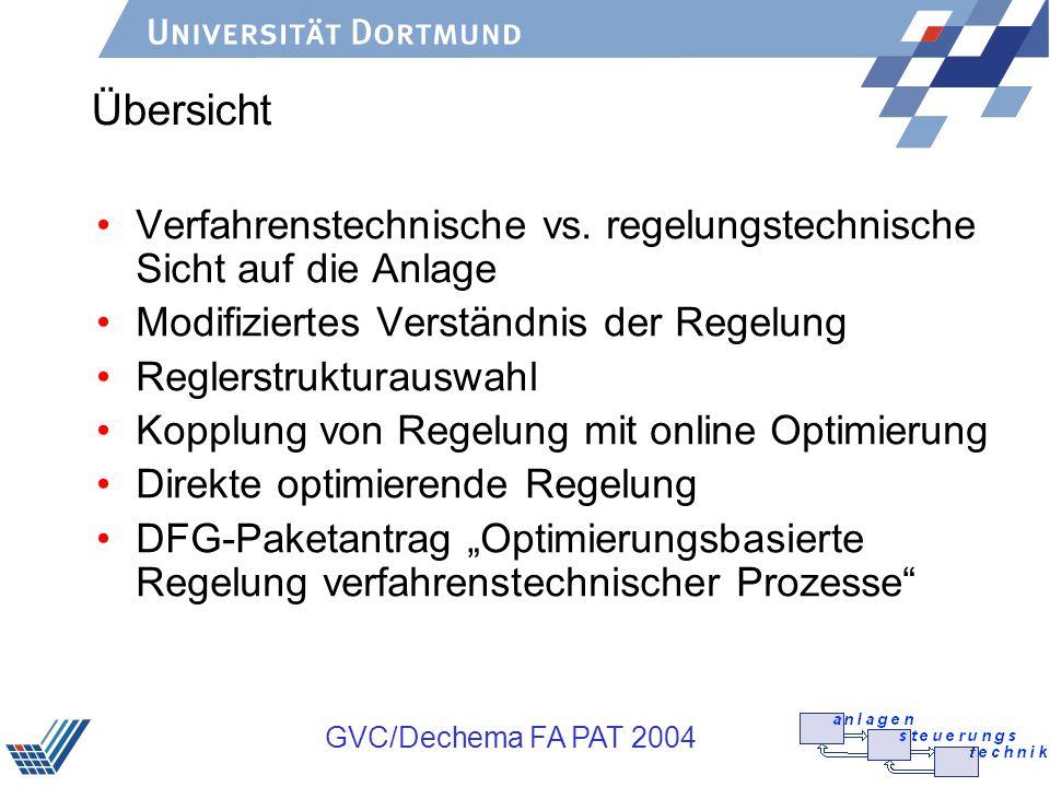 GVC/Dechema FA PAT 2004 Reglerstrukturauswahl Traditionelle Sicht: >Auswahl der Regelungsstruktur erfolgt im wesentlichen im Hinblick auf das dynamische Verhalten.