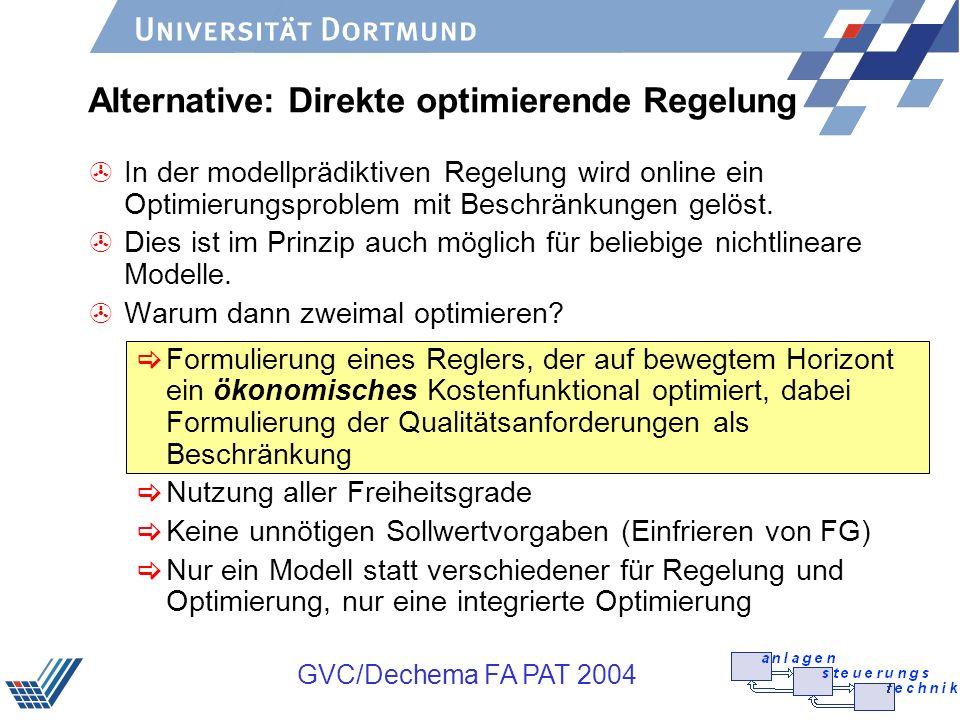 GVC/Dechema FA PAT 2004 Alternative: Direkte optimierende Regelung >In der modellprädiktiven Regelung wird online ein Optimierungsproblem mit Beschrän