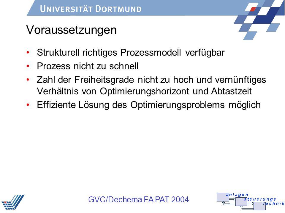 GVC/Dechema FA PAT 2004 Voraussetzungen Strukturell richtiges Prozessmodell verfügbar Prozess nicht zu schnell Zahl der Freiheitsgrade nicht zu hoch u