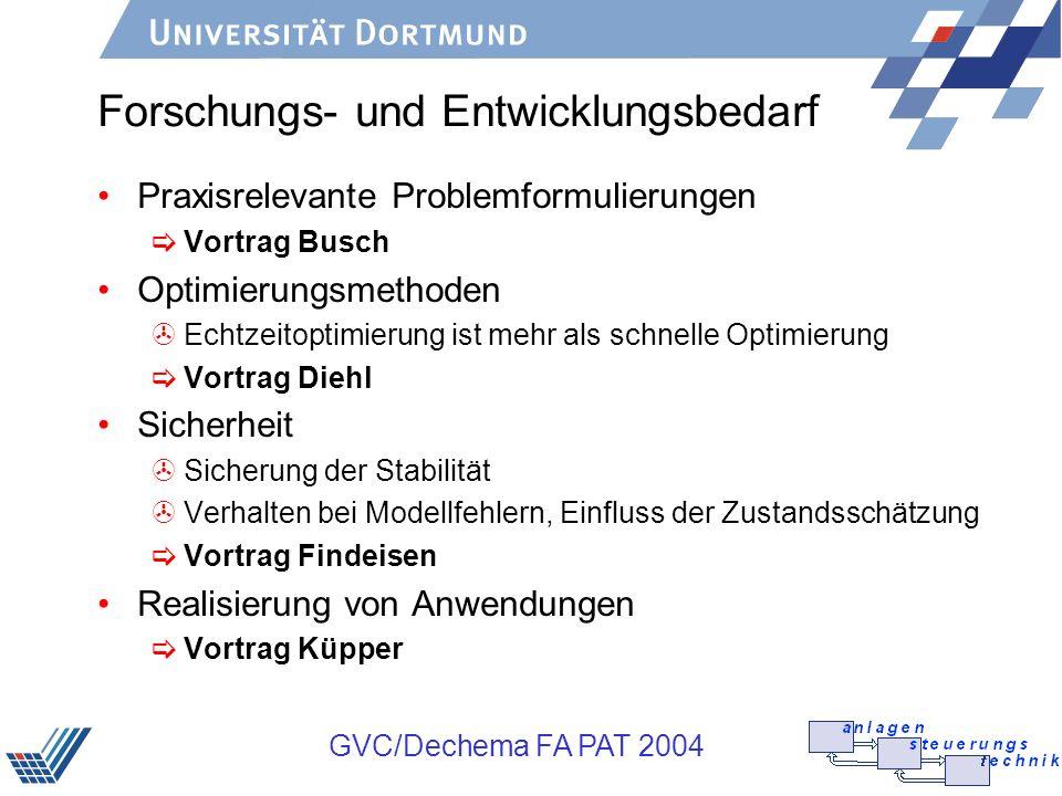 GVC/Dechema FA PAT 2004 Forschungs- und Entwicklungsbedarf Praxisrelevante Problemformulierungen Vortrag Busch Optimierungsmethoden >Echtzeitoptimieru