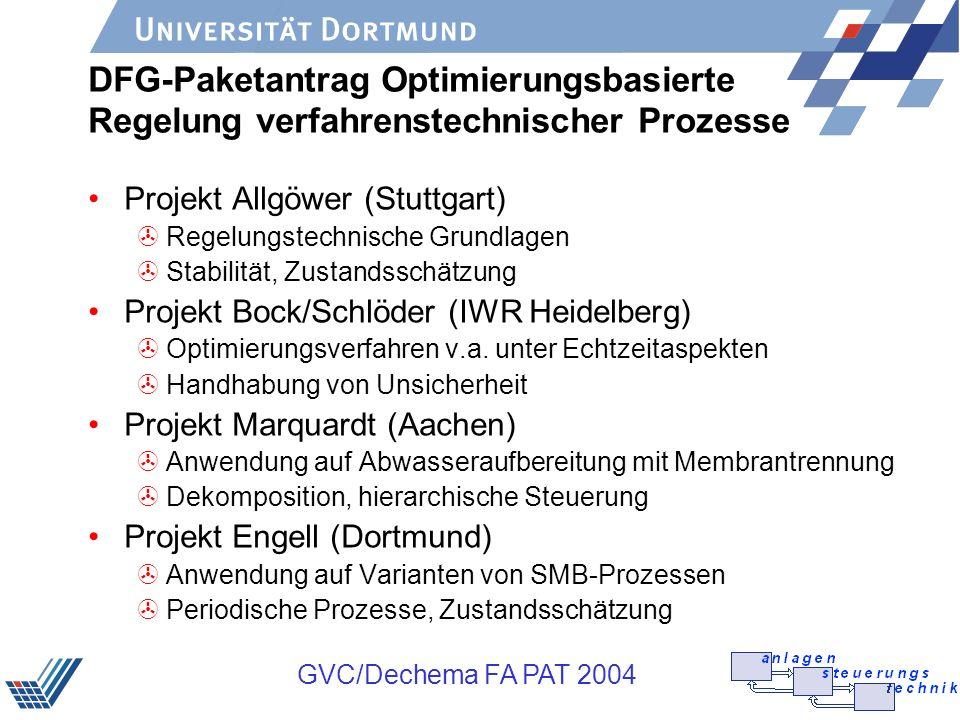 GVC/Dechema FA PAT 2004 DFG-Paketantrag Optimierungsbasierte Regelung verfahrenstechnischer Prozesse Projekt Allgöwer (Stuttgart) >Regelungstechnische