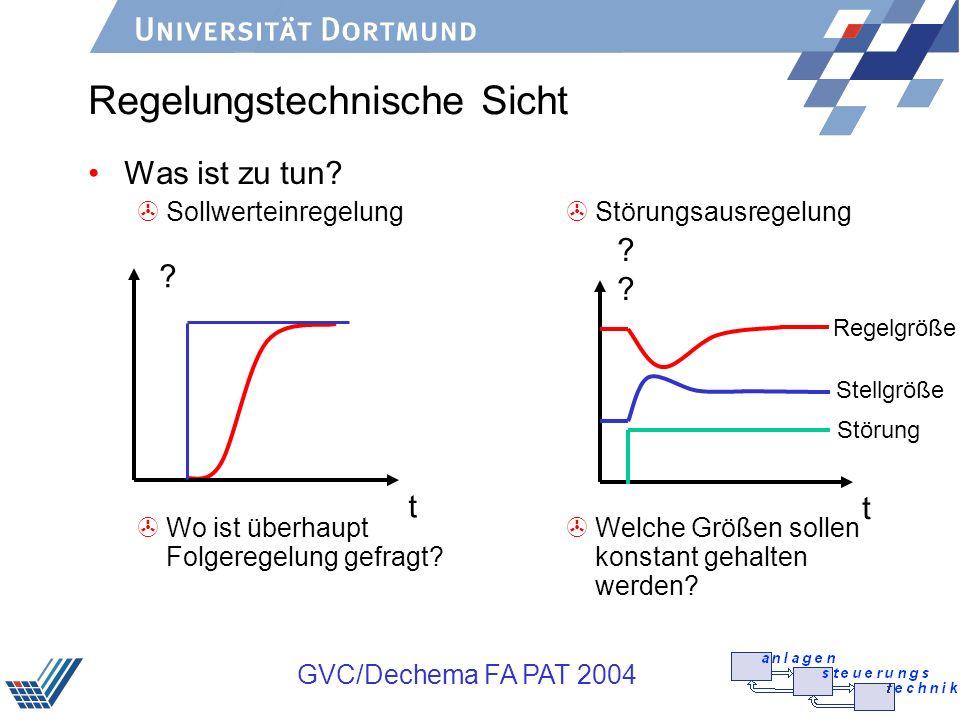 GVC/Dechema FA PAT 2004 Regelungstechnische Sicht Was ist zu tun? >Sollwerteinregelung >Wo ist überhaupt Folgeregelung gefragt? >Störungsausregelung >