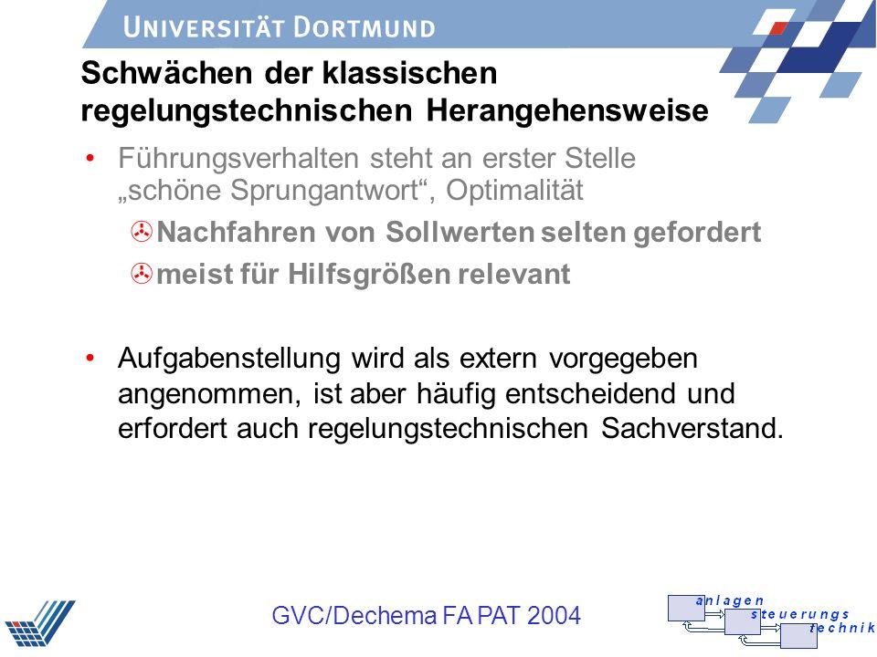 GVC/Dechema FA PAT 2004 jetzt Vergangenheit Prädiktive Regelung Zukunft u y k HpHp HrHr Sollwert Berechnung der Stellgrößen durch Lösen eines Optimierungs- problems mit Beschränkungen