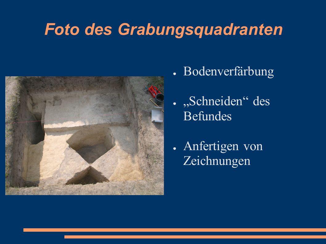 Foto des Grabungsquadranten Bodenverfärbung Schneiden des Befundes Anfertigen von Zeichnungen