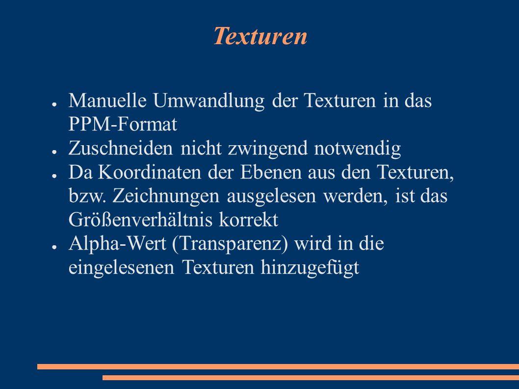 Texturen Manuelle Umwandlung der Texturen in das PPM-Format Zuschneiden nicht zwingend notwendig Da Koordinaten der Ebenen aus den Texturen, bzw. Zeic
