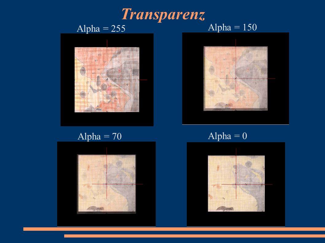 Transparenz Alpha = 255 Alpha = 150 Alpha = 70 Alpha = 0