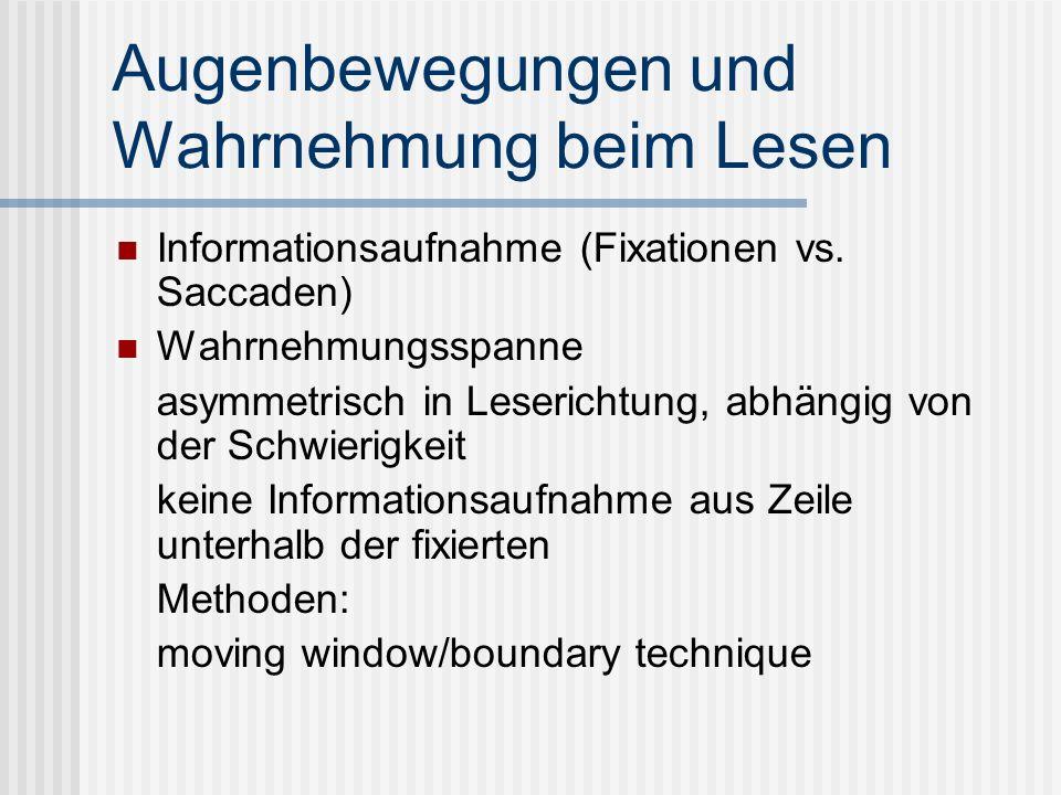 Augenbewegungen und Wahrnehmung beim Lesen Informationsaufnahme (Fixationen vs. Saccaden) Wahrnehmungsspanne asymmetrisch in Leserichtung, abhängig vo